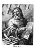 Noah (or Noe, Noach; Hebrew: נֹחַ, נוֹחַ, Modern Noaẖ Tiberian Nōăḥ; Arabic: نُوح Nūḥ; Greek: Νωέ; Macedonian: Ноа) was, according to the Hebrew Bible, the tenth and last of the antediluvian Patriarchs.<br/><br/>  The biblical story of Noah is contained in chapters 6–9 of the book of Genesis, where he saves his family and representatives of all animals from the flood by constructing an ark. He is also mentioned as the 'first husbandman' and in the story of the Curse of Ham.<br/><br/>  Noah is the subject of much elaboration in later Abrahamic traditions. Noah is also mentioned several times in the Qur'an.