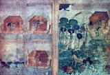 Folios 3v–4r, depicting on the left four scenes of the Flood: in the upper register Noah releasing the raven and Noah releasing the dove; in the lower register the dove plucks an olive branch and returns to the Ark. On the right we see the animals and Noah's family debarking from the Ark on verdant land, and the rainbow in the sky.<br/><br/>  Noah (or Noe, Noach; Hebrew: נֹחַ, נוֹחַ, Modern Noaẖ Tiberian Nōăḥ; Arabic: نُوح Nūḥ; Greek: Νωέ; Macedonian: Ноа) was, according to the Hebrew Bible, the tenth and last of the antediluvian Patriarchs.<br/><br/>  The biblical story of Noah is contained in chapters 6–9 of the book of Genesis, where he saves his family and representatives of all animals from the flood by constructing an ark. He is also mentioned as the 'first husbandman' and in the story of the Curse of Ham.<br/><br/>  Noah is the subject of much elaboration in later Abrahamic traditions. Noah is also mentioned several times in the Qur'an.
