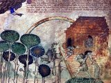 Detail of folio 4r, depicting Noah's Ark. God's hand can be seen in the upper left corner, offering his blessing. Note the dragon, which is leaving the Ark.<br/><br/>  Noah (or Noe, Noach; Hebrew: נֹחַ, נוֹחַ, Modern Noaẖ Tiberian Nōăḥ; Arabic: نُوح Nūḥ; Greek: Νωέ; Macedonian: Ноа) was, according to the Hebrew Bible, the tenth and last of the antediluvian Patriarchs.<br/><br/>  The biblical story of Noah is contained in chapters 6–9 of the book of Genesis, where he saves his family and representatives of all animals from the flood by constructing an ark. He is also mentioned as the 'first husbandman' and in the story of the Curse of Ham.<br/><br/>  Noah is the subject of much elaboration in later Abrahamic traditions. Noah is also mentioned several times in the Qur'an.